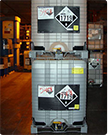 a photo of chemicals with warnings on a forlift